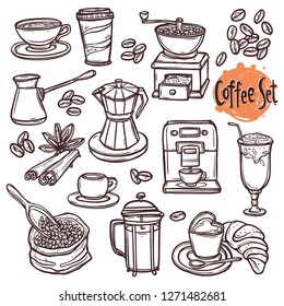Hand drawn coffee doodle set with coffee cup, beans, espresso, cappucino, dessert, mug, latte, coffee turk. Sketch illustration