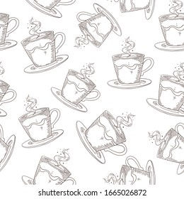 Hand drawn coffee pattern. Cute seamless print with coffee or tea mugs, morning drink sketch.  vintage black cups print design on white backgrounds