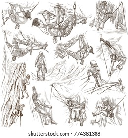 An hand drawn collection. CLIMBING. Sport. Set of Climbers. Sportsmen in different positions and situations. Pack on white, isolated. Full sized hand drawings. Line art techniques.