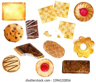 Hand drawn collection of cookies. Watercolor illustration isolated on white.