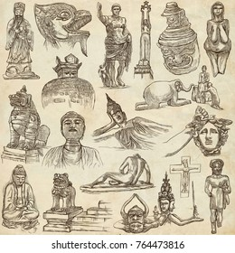 An hand drawn collection. NATIVE AND OLD ART, artworks of different cultures around the World. Pack on old paper. Full sized hand drawings. Line art techniques.