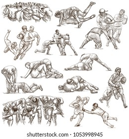 An hand drawn collection of RUGBY sport. Hand drawings. Line art on white. Isolated.