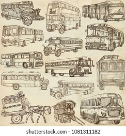 An hand drawn collection of TRANSPORTATION and Transport around the World - BUSES. Hand drawings, freehand sketching. Line art old paper.