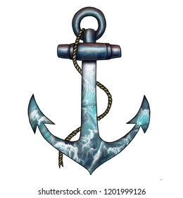 Hand drawn color illustration vector sea anchor with a rope.
