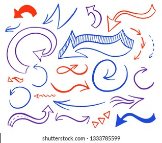 Hand drawn colorful arrows set. Collection of blue, red and purple symbols isolated over white background.