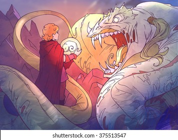 Hand drawn colorful cartoon fantasy illustration of a huge frightening monster snake hissing at the hero who brought this snake her egg