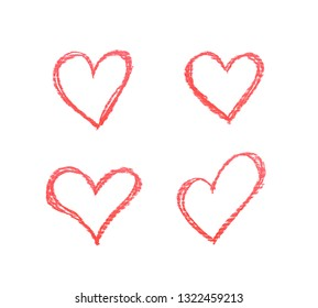 Hand drawn with a colorful chalks heart shape isolated over the white background, set of four different foreshortenings