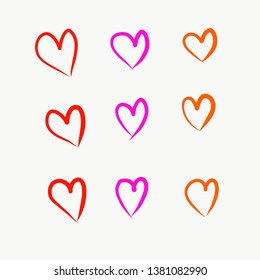 Hand drawn Colorful Hearts Element illustration on White Background