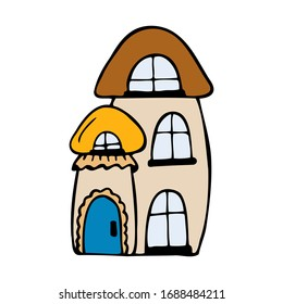 Hand drawn colorful house in the shape of a mushroom isolated on a white background. Children's style. Doodle, simple outline illustration. It can be used for decoration of textile, paper.