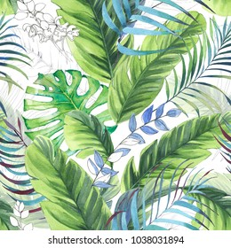 Hand drawn colorful seamless pattern with watercolor palm leaves, exotic plants and banana leaves. Summer repeated background
