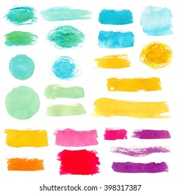 Hand drawn colorful watercolor abstract smears. Raster elements set.