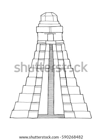 Hand Drawn Coloring Book Architecture Sketch Stock Illustration ...