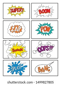 Hand drawn Comic sound speech effect bubbles set