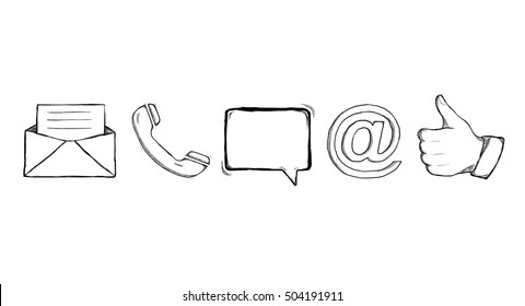 Hand drawn contact icons illustration on white background