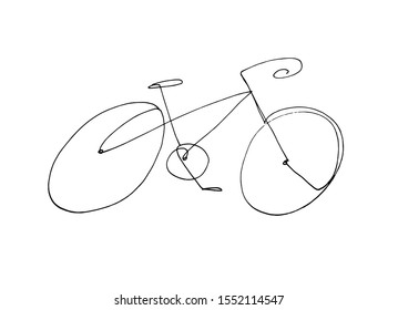 Hand drawn continuous one line bicycle illustration. Simple bike icon. Modern bike drawing.