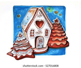 hand drawn cookie gingerbread winter house