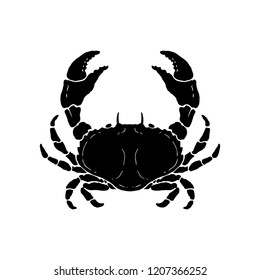 Hand drawn crab illustration. Seafood. Design element for logo, label, emblem, sign, poster.