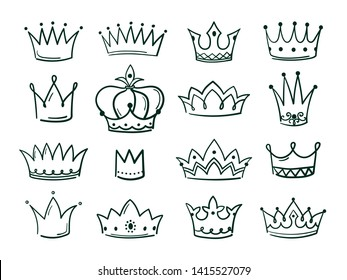 Hand drawn crown. Sketch crowns queen coronet simple elegant black crowning vintage coronal icons majestic tiara isolated  set