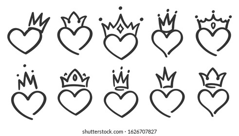 Hand drawn crowned hearts. Doodle princess, king and queen crown on heart, sketch love crowns. Wedding card logo, doodle hearts in crowns. Isolated  symbols illustration set