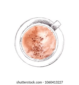 Hand drawn cup of cappuccino coffee with milk foam and cinnamon, top view. Pencil sketch with watercolor stain. For coffee menu and food background.
