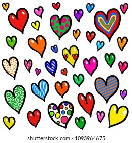 Hand drawn cute background pattern with pretty doodle hearts.