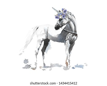 Hand drawn cute cartoon watercolor illustration magic white unicorn with wreath of anemone on the white background