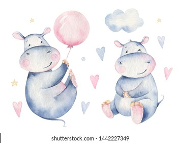 Hand drawn cute isolated tropical summer watercolor hippo animals. hippopotamus baby and mother cartoon animal illustrations, jungle tree, brazil trendy design.