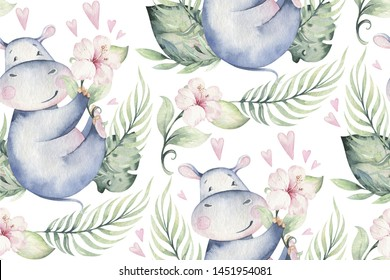 Hand drawn cute isolated tropical summer watercolor hippo animal seamless pattern. hippopotamus baby and mother cartoon animal illustrations, jungle tree, brazil trendy design.