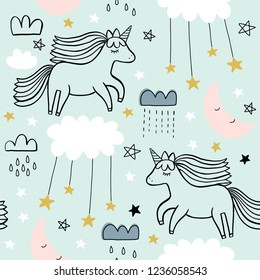 Hand drawn cute seamless unicorn star pattern, vintage, greeting card, web template, wallpaper, baby apparel, fabric, textile, wallpaper, bedding, swaddles, pyjama with stars, moon, hearts, cloud, sky