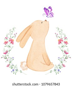 Hand drawn cute watercolor bunny