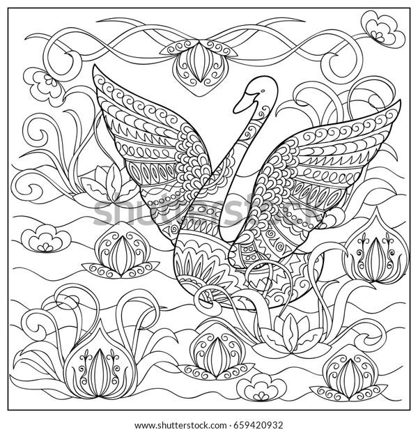 hand drawn decorated cartoon swan 600w