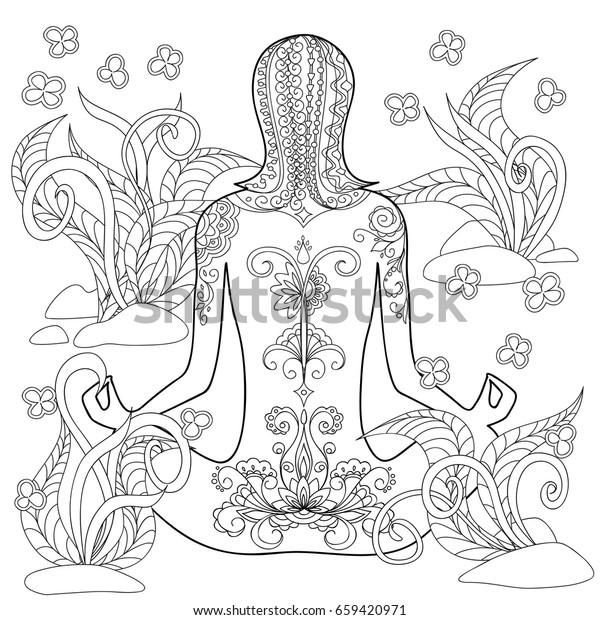 Hand Drawn Decorated Tattoo Girl Tangled Stock Illustration 659420971