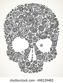 Hand drawn detailed doodle floral skull in black isolated over white.