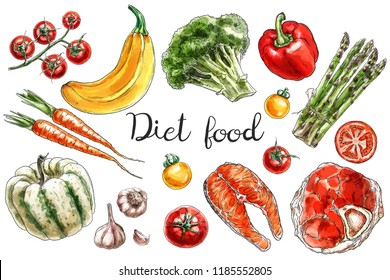 Hand drawn different vegetables, meat and fish for the diet food. Digital watercolor. Sketch style.