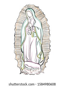 Hand drawn digital illustration or drawing of Virgin Mary in the advocation of Our Lady of Guadalupe