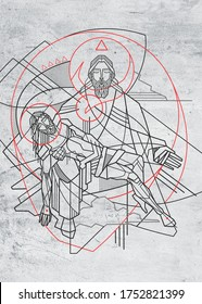 Hand drawn digital illustration or drawing of the Holy Trinity in a minimal and contemporary style