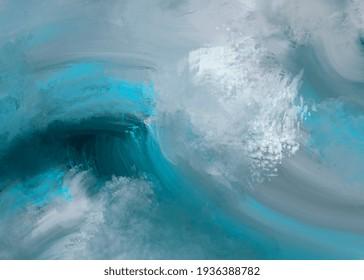 Hand drawn digital illustration or drawing of an abstract natural sea wave