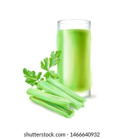 Hand drawn digital illustration in watercolor style. Ripe realistic parsley, celery stalk and glass of fresh juice, perfect rendered vegetables isolated on the white background - Illustration
