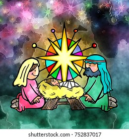 Hand drawn digital painting of Mary and Joseph adoring the Christ child on the first Christmas.