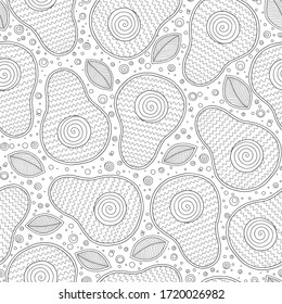 Hand drawn doodle avocado seamless pattern. Whole avocado, sliced pieces sketch. Tropical summer fruit engraved style background. Detailed food drawing.