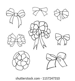 Hand drawn doodle bows set.Perfect for invitation, greeting card, coloring book, textile print.