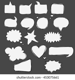 Hand drawn doodle bubbles for speech, talk, think, word, text, letters, dialogue, conversation. Different frame for text as cloud, square, circle, heart, explosion, bubble sketch lines to comics