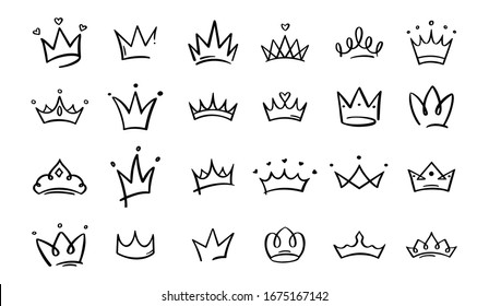 Hand drawn doodle crowns. King crown sketches, majestic tiara, king and queen royal diadems . Line art prince and princess luxurious head accessories isolated on white background