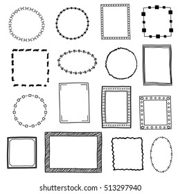 Hand drawn doodle frames, borders set. Frame sketch for decoration, drawing frames in form square and circle illustration