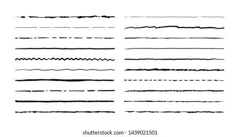 Hand drawn doodle lines. Pencil stroke underline sketch, pen grunge border set, cartoon frame elements.  doodle brush set