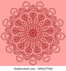 hand drawn doodle mandala with hearts. Ethnic mandala with colorful ornament. Isolated. Illustration on doodle style.