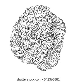 Hand drawn doodle outline magic line art element with floral ornament. Sketch for poster, children or adult coloring pages.