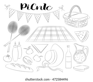 Hand drawn doodle Picnic icons set  illustration barbecue sketchy symbols collection. Summer picnic Umbrella Guitar Food basket Drinks Wine Sandwich Sport activities