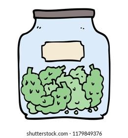 hand drawn doodle style cartoon cannabis dispensary jar