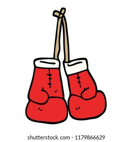 hand drawn doodle style cartoon boxing gloves